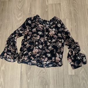 Lucky Brand Floral Print Long-Sleeve Blouse